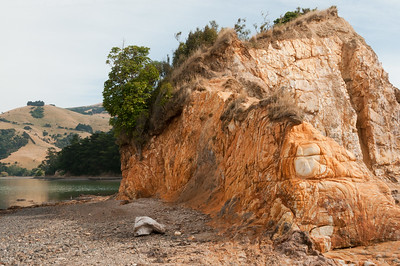 Interesting volcanic rock, Akaroa.