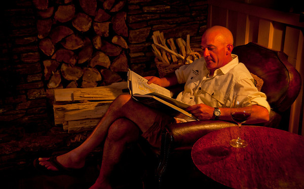 Guide Sean Andrews reading my book Distant Waters