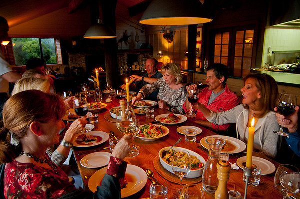 Dinner at Poronui is a lively affair