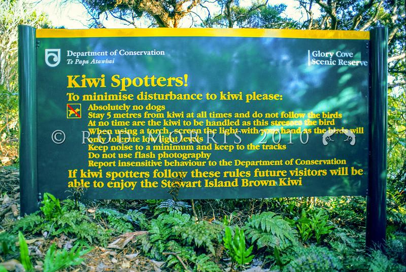11001-03213  Stewart Island tokoeka (Apteryx australis lawryi) DoC sign *