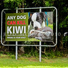 IMG_1076 Northland brown kiwi (Apteryx mantelli) a roadside sign warns of the danger dogs pose to kiwi living in rural and urban areas, around the Whangarei Heads.