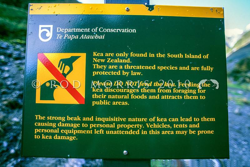 11001-72702 Kea or mountain parrot (Nestor notabilis) do not to feed keas sign *