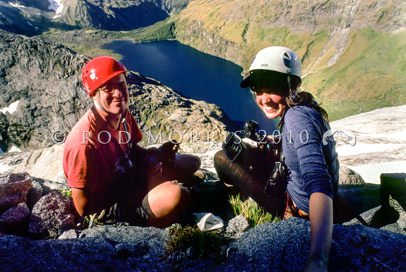11003-58017 Sinbad skink (Oligosoma pikitanga) was discovered in Fiordland in 2004 by herpetologist Tony Jewell, seen here on Barrier Knob, with documentary film-maker Jinty Mactavish *