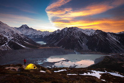 Winter camp at Sealy Tarns overlooking Hooker Valley, Mueller Lake, Mt Wakefield and Aoraki Mount Cook