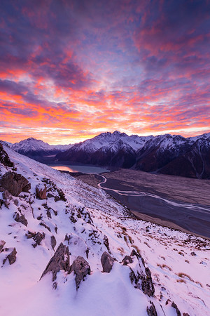 Tasman Valley and Tasman Glacier Terminal Lake at dawn. Burnett Mountains and Nuns Veil mid frame. Aoraki Mount Cook National Park, New Zealand