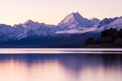 Aoraki Mount Cook and the Main Divide reflected in Lake Pukaki