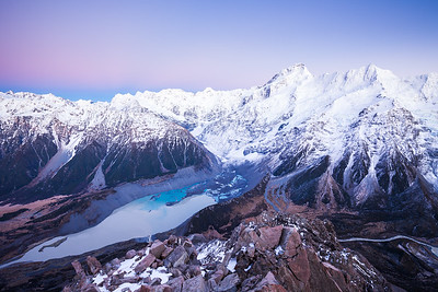 Mueller Glacier and Lake, Mount Sefton and the Footstool, Aoraki Mount Cook National Park