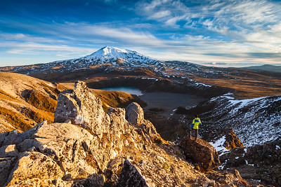 Overlooking Mount Ruapehu and the Lower Tama Lake. Tongariro National Park, UNESCO World Heritage Area. New Zealand
