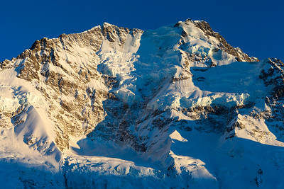 Caroline Face of Aoraki Mount Cook Low Peak (left) and Middle Peak (right).  Aoraki Mount Cook National Park