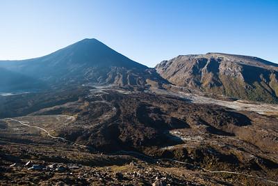 Tongariro Alpine Crossing route crosses lava flows beneath Ngauruhoe and Pukekaikiore, Mangatepopo Valley, Tongariro National Park, Central North Island