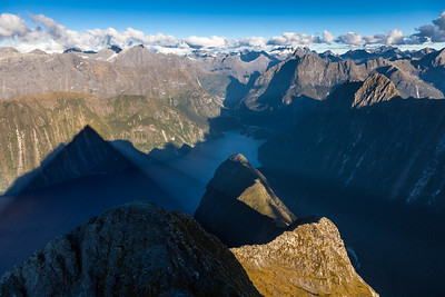 Mitre Peak's shadow over Milford Sound, Fiordland National Park