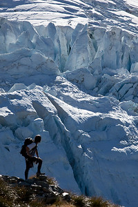 Climber beside Stocking Glacier, Aoraki,NZ MR