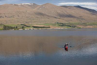 Kayaking, Lake Heron, Canterbury, NZ, (MR)