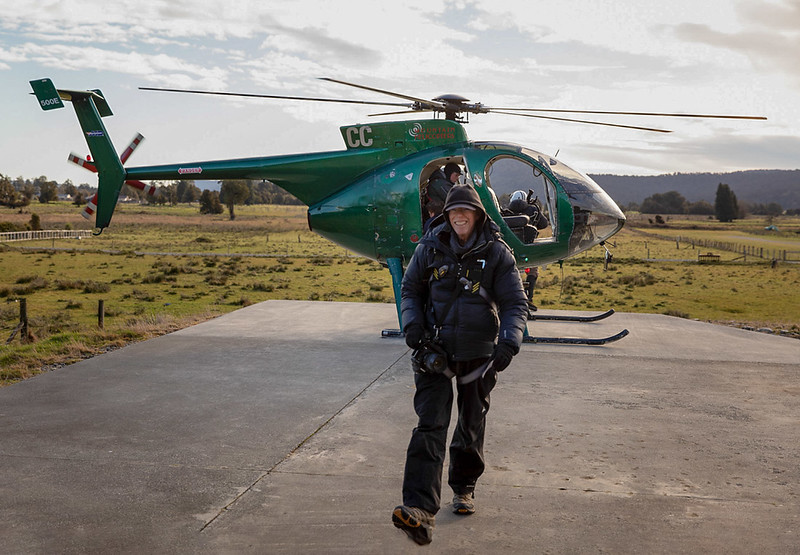 Phil after helicopter flight (Photo by Gary May)