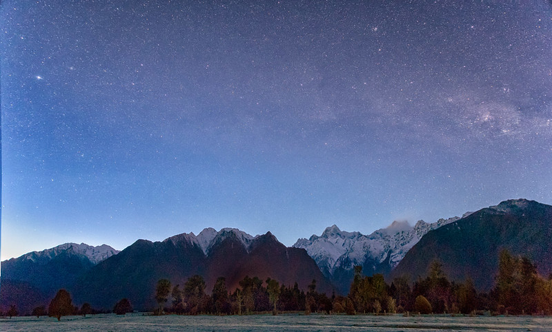 Mt. Tasman and Mt. Cook from town of Fox Glacier