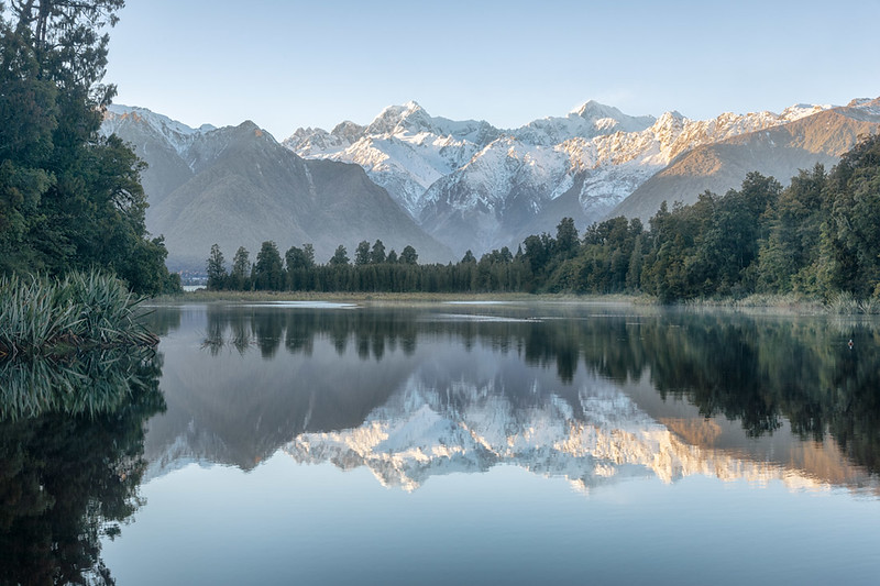 View of Mt. Tasman and Mt. Cooke from Lake Mathesen