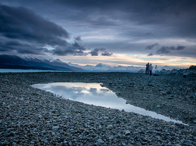 Becky and Jack shooting Aoraki/Mt. Cook from Lake Pukaki.