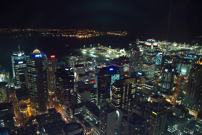 Auckland Night View Along Water