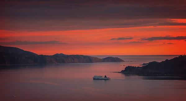 Inter islander Ferry Leaving Wellington Harbour at Sunset