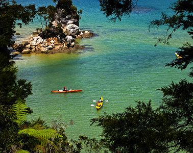 Renting kayaks in the Abel Tasman National Park, although we didn't rent them (this time).  We're hoping to return and kayak through parts of the National Park this summer.