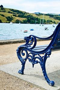 Iron wrought beach bench Akaroa