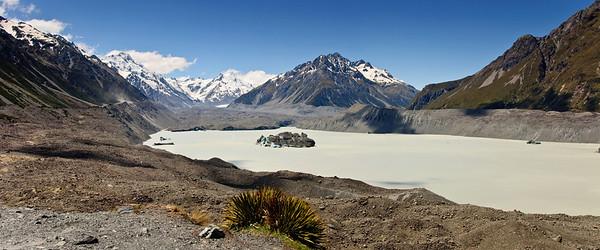 Tasman glacier terminal Aoraki Mt Cook National Park South Island New Zealand