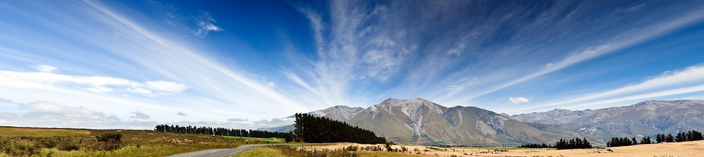 High country pastures on the way to lake Coleridge South Island New Zealand