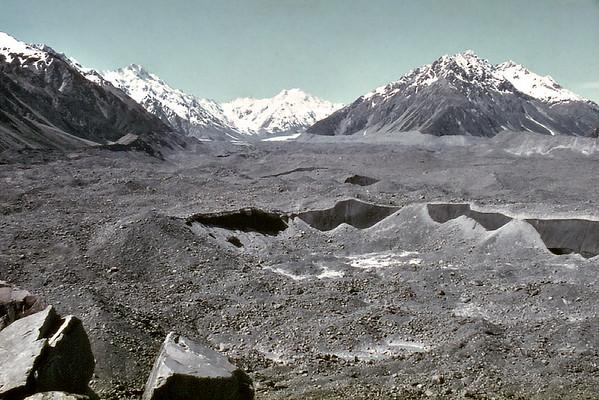Tasman Glacier moraine Mt Cook National Park New Zealand - Jan 1984