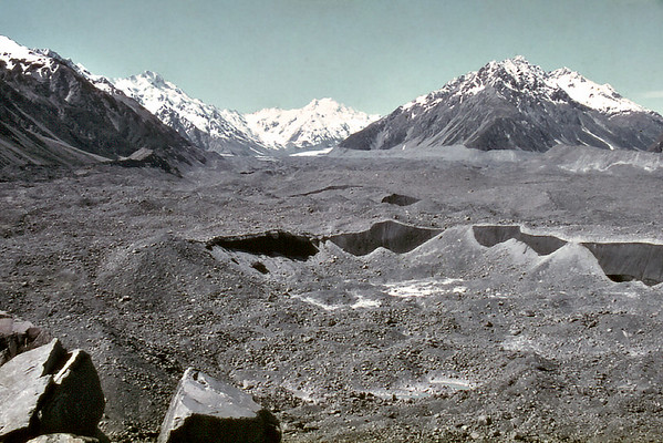 Tasman Glacier moraine Mt Cook National Park New Zealand - Jan 1984