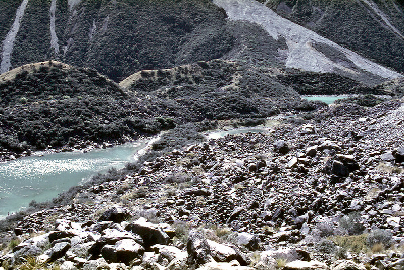 Ice fed stream from the Tasman Glacier Mt Cook National Park New Zealand - Jan 1984