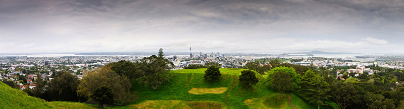 View of pa sites on top of Mt Eden, on an overcast cloudy spring afternoon in Auckland.