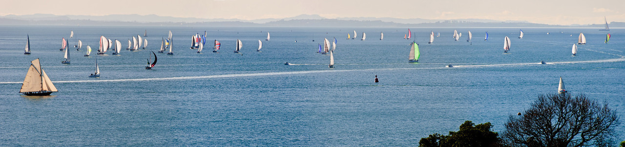 Sailing boats on the Waitamata Habour on clear July afternoon Auckland New Zealand