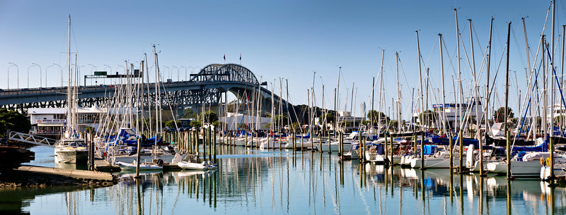 Westhaven Marina with the Auckland Harbour Bridge in the background Auckland New Zealand