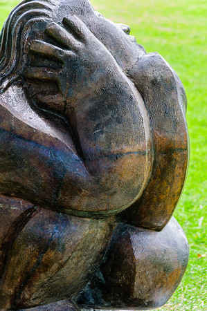 Llew Summers Bird Watcher Bronze Sculpture in the Gardens Auckland Botanic Gardens