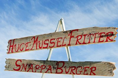 Food sign Matakawau Awhitu Peninsula North Island New Zealand