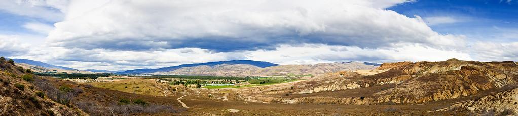 Summer clouds over  Bannockburn Central Otago South Island New Zealand