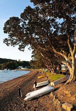 Beach front at sunset Russell Bay of Islands New Zealand