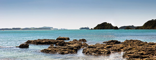 View of ocean liner from Pahia Bay of Islands New Zealand