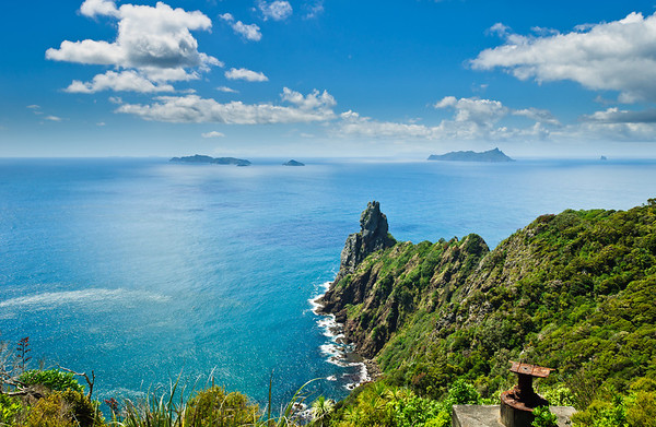 View of cape Te Whara and the Hen and Chickens Islands Bream Head New Zealand