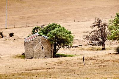 Pioneer mud cottage Strath Taeri plains Maniototo South Island New Zealand