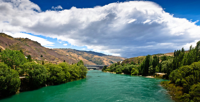 The Clutha River downstream from the Clyde Dam Central Otago South Island New Zealand