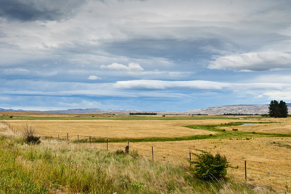Pasturelands in the Maniototo on a cloudy summer afternoon South Island New Zealand
