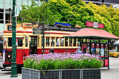 Tram stop Cathedral Square Christchurch South Island New Zealand