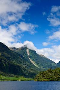 Erosion scarring Doubtful Sound Fjordland South Island New Zealand