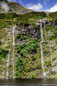 Waterfalls Doubtful Sound Fjordland South Island New Zealand