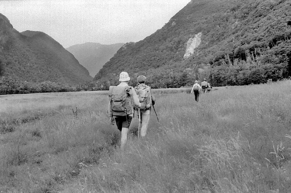 Crossing the flats Routeburn track Fjorland New Zealand - 197X