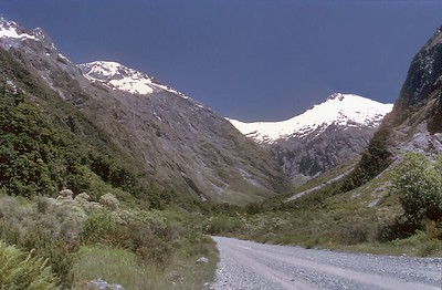 Access road to the Homer Tunnel Fjorland New Zealand - Jan 1973