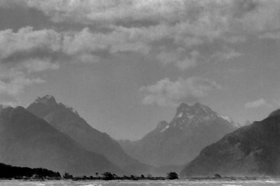 Looking to the Harris saddle Kinloch Fjorland New Zealand - 197X