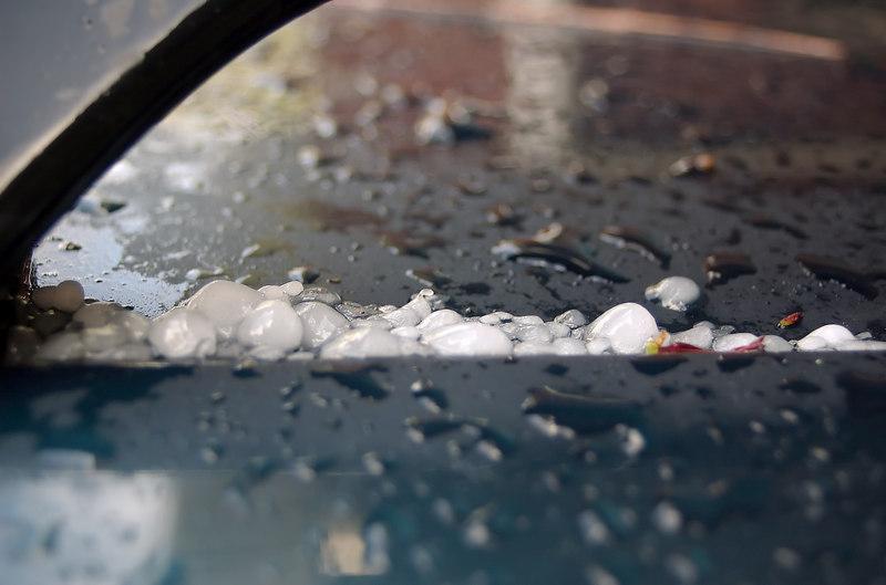 Hail stones on car windscreen Moana Ave Onehunga Auckland New Zealand - 10 Oct 2006
