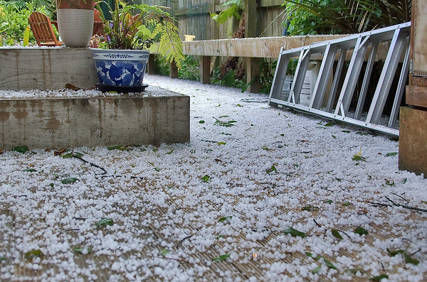 Hail stones on deck Moana Ave Onehunga Auckland New Zealand - 10 Oct 2006